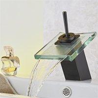 neue hahn-design groihandel-Freies verschiffen Neue design bad glas wasserfall becken wasserhahn ORB bad einhebelmischer marke