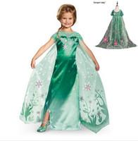 Wholesale Girls Long Tail Dress - fever elsa dress with long tail green flower girl dress long cape dress green Elsa dress princess elsa long free shipping in stock