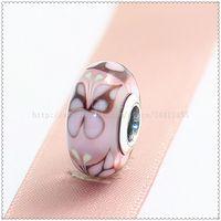 Wholesale Screw Core Murano Glass - 5pcs S925 Sterling Silver Screw Core Lampwork Pink Butterfly Kisses Murano Glass Bead Fit European Pandora charm Bracelets Necklaces