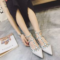 Wholesale b107 tailor made genuine leather star gem pointy flats shoes luxury designer red white nude black