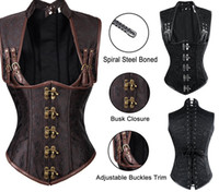 Wholesale Black 2xl Corset Leather - 2017 Sexy Women Autumn Punk Corsets &Bustiers Shaper Slim Body Leather Steel Boned Corset Plus Size Gothic Style V-neck Fashion Good Quality