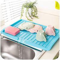 Wholesale Dish Folding - Hot new gadgets Kitchen Sink Drain Rack Dish Draining Board tableware tray drainer Vegetable & Fruit Shelf Drying Rack