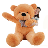 Wholesale 2m Teddy - 2m Giant teddy bear huge plush stuffed toy brown white toys embrace kid baby doll birthday valentine gift girls lovers