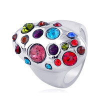 Wholesale geometric rings online - 2017 luxury Fashion originality Vintage top grade geometric silver color Rings big gem Crystal Mosaic Rings for women Jewelry