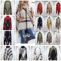 Wholesale Poncho Cardigans - Plaid Poncho Women Tassel Blouse 135*135CM Knitted Coat Sweater Wraps Knit Scarves Tartan Winter Cape Grid Shawl Cardigan Cloak OOA2903