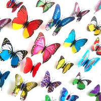 Wholesale Wholesale Butterfly Decor - Random Mix 3D Color Butterfly Wall Stickers Wall Decals for Home Decor or Halloween Party Supplies Assorted Size