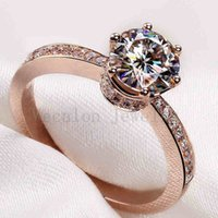 Wholesale Simulated Diamond Rose Gold - Vecalon 2016 Brand Female Crown ring 2ct Topaz Simulated diamond Cz Rose gold 925 Sterling Silver Engagement wedding Band ring for women