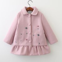 Wholesale Girls Wool Long Coat - Kids Girls Wool Coat Baby Girls Floral Embroidery Trench Coat 2017 Winter Infant Princess Turn-down Collar Outwear Children Clothing B958