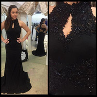 Wholesale rachel allan mermaid prom dresses for sale - Group buy 2017 Black Lace Cheap Mermaid Evening Dresses with Beaded High Keyhole Neck Sleeveless Chiffon Backless Long Rachel Allan Prom Party Gowns