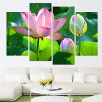 Wholesale Lotus Painting Wall Panels - calligraphy Wealth luxury golden flowers 4 Piece Art lotus Picture Home Decor Canvas Modern Wall Prints Canvas Painting( No Frame)