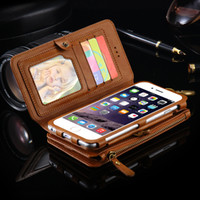 Wholesale Galaxy Note Two Case - Two-Piece Wallet Pouch Case With 18 Card Slot For iPhone 7 Plus 6 6S Plus 5S SE For Samsung Galaxy Note 5 S6 Edge Plus Retro Bag PU Leather