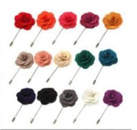 Wholesale Flower Accessories China - Lapel flower camellia handmake boutonniere brooch pin men's accessories 16 colors button stick flower brooches for wedding party
