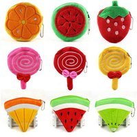 Wholesale korean pendant design - 100pcs cute 32 designs Fruit watermelon pineapple strawberry Coin Purses cute emoji coin bag plush pendant smile wallet D732