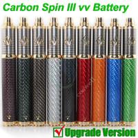 vision dampf e zigarette großhandel-NEU Vision Carbon Spin III Vapen 3 Carbonfaser 3.3-4.8V 1650mAh Ego II Variable Voltage Vv Batterie Tesla e Cig Zigarettendampfzerstäuber DHL