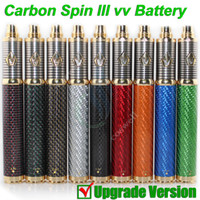 Wholesale Vapen Spin Battery - NEW Vision Carbon Spin III vapen 3 Carbon Fiber 3.3-4.8V 1650mAh ego II Variable Voltage vv battery Tesla e cig cigarette vapor atomizer DHL
