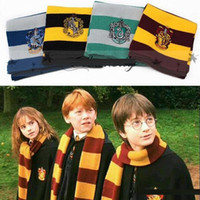 Wholesale Cosplay Costume Red - Fashion Harry Potter Scarves Gryffindor Hufflepuff Slytherin Knit Scarf Cosplay Costume Gift Warm Stripe Gryffindor Scarves With badge B1033