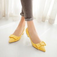 Wholesale Yellow Kitten Heels Wedding - Hot sale 2018 large size 33-43 new bowtie patent leather pointed toes kitten chunky heel slip-on party women pumps dress shoes 375-2