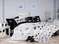 Wholesale Black Floral Queen Sheet Set - new 500 TC white black floral oil painting print cotton 3D bedding set girl's bed sheets full queen quilt comforter duvet covers