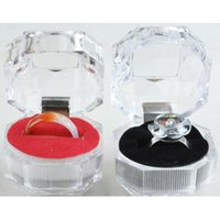 Wholesale Glass Ring Display Case - Ring Earrings Jewelry Crystal Box Storage Gift Case Display Transparent C00375 CAD