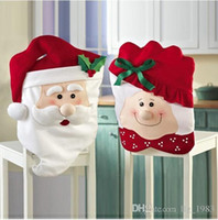 Wholesale Cute Christmas Couples Gifts - 2016 Hot s Christmas Indoor Decoration 3D Two styles Christmas Cute Gift Cartoon Couple Santa Claus Seat Cover (12pcs lot)