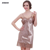 Wholesale Sleep Dresses For Women - Wholesale-Women Sleep Tops Deep V-Neck Solid Sleeveless Lace Style Night Sleep Dress Dressing Gowns for Women Women Pajamas Silky Comfort