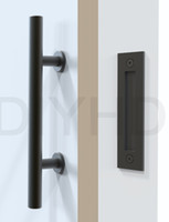 Stainless-Steel black barns - Black Stainless Steel Barn Door Handle And Pull Wood Door Two side Black handle Door knob