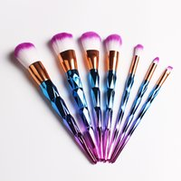 Wholesale Gourd Brush - HOT Mermaid Unicorn Screw Diamonds Gourd Makeup Brushes Sets 3D Colorful Professional Brushes Foundation Blush Cosmetic Brush Set Kit Tools