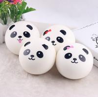 jumbo panda bun squishy venda por atacado-Atacado-10 cm Jumbo Panda Bun Squishy Celular Encantos Kawaii Panda Buns Key Bag Strap Squishes
