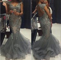 Wholesale Grey Organza Mermaid Dress - Elegant Grey Organza Mermaid Prom Dresses Scoop Capped SLEEVES Backless Formal Evening Gowns 2016 Vestidos Beaded Appliques Party Gowns