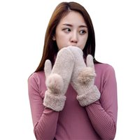 Wholesale Genuine Rabbit Fur Gloves - Wholesale- Female Luvas Wool Heated Gloves Soft Genuine Rabbit Fur Pompon Women Mitts Thick For Winter Femme Woolen Velvet Warm Gloves G036