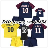 Wholesale Boys Kids T Shirts - 17 18 kids VERRATTI NEYMAR JR soccer shirt Kits CAVANI MBAPPE LUCAS DI MARIA MATUIDI T SIVA DRAXLER DANI ALVES child Football Jersey
