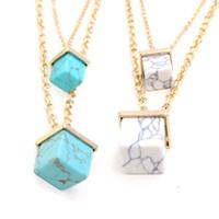 Wholesale Turquoise Pendant Necklace Men - White Marble Faux Stone Pendant Necklaces Cube Double gold plated Necklace statement necklaces for women and men