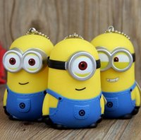 Wholesale Despicable Keyrings - 3D Minions KeyChain Key Chain Ring Keyring The Cartoon Movie Despicable Me Action Figure Boys Girls Christmas Promotion Gift Free DHL