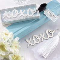 Wholesale Bridal Party Presents - wholesale wedding favor XO metal bookmark with tassel bridal shower favors present wedding reception gift wen4505