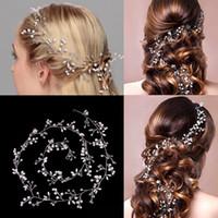 Wholesale Women Head Hair Ornament - Handmade Bridal Hair Ornaments 100cm &150cm Long Hair Vine Pearl Headband For Women Crystal Flower Tiara Head Chain Wedding Hair Accessories
