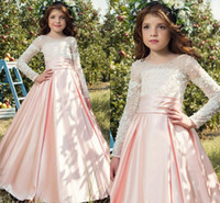 Wholesale Cheap Long Dresses For Weddings - 2017 Cheap Flower Girls Dresses For Weddings Jewel Neck Lace Appliques Pearls Long Sleeves Baby Pink Satin Birthday Children Pageant Gowns