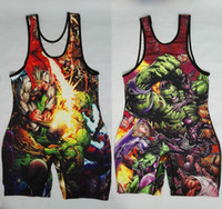 Wholesale Wrestling Singlet L - The Incredible Fighting Hulk Wrestling Singlet Wear Uniform Weightlifting Cos play Youth Man One Piece Tights