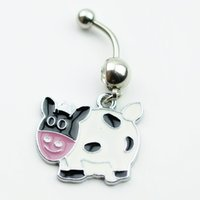 Wholesale Cow Plates - D0470 white colors cow style Belly Button ring Navel Rings Body Piercing Jewelry Dangle Accessories Fashion Charm 10PCS