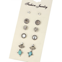 Wholesale Turquoise Women Suits - 6 pairs Hot selling earrings for women Retro turquoise earrings suit Bohemian geometry alloy earrings