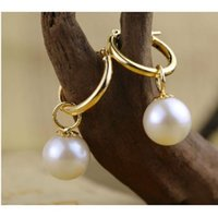 Wholesale Australia South Sea Pearls - 9-10mm perfect round white Australia south sea pearl dangle earring 14K GOLD