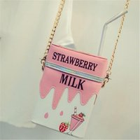 Wholesale Strawberry Girl Cover - 2016 Famous Personality Laser Straws Milk Cartoon Shape Shoulder Bag Chain Strawberry Lemon Cross Body Bag Girl Phone Small Bag Purse Bolso