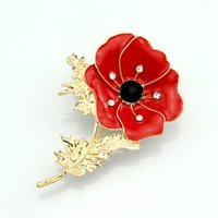 Wholesale Uk Brooch - Enamel Red Poppy Flower Diamante Crystal Broach Banquet Badge Brooch Pin Breastpin UK Remebrance Day Gift DHL free shipping