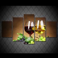arte de la pared lienzo vino panel al por mayor-5 Panel HD Impreso vino copas de vino bebida alcohol Pintura Impresión de la Lona decoración de la habitación impresión de cartel cuadro de pared de arte desnudo