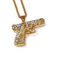Wholesale Mens Long Silver Chain - Hip Hop Mens Rap 18K Gold Plated Bling 2PAC Gun Pendant Long Body Chains Necklaces & Pendants For Men Women Jewelry Accessories