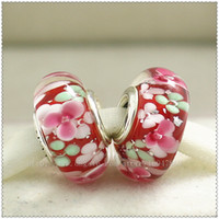 5pcs lots 2016 S925 Sterling Silver Lampwork Of Colorful Fashion Garden Murano Glass Charm Beads Fit European Woman Jewelry DIY Bracelets