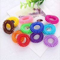 Wholesale Wire Cord Hair - 30pcs Mulit-color Telephone Wire Cord Girl Elastic Ring Head Tie Hair Rope Ring Hair Accessories Hair Styling Tools