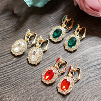 Wholesale Colorful Beaded Earrings - Luxury Crystal Beaded Colorful Earrings For Women Fashion Evening Party Earrings Women Jewelry Cheap Bridal Accessories Charming Jewelry
