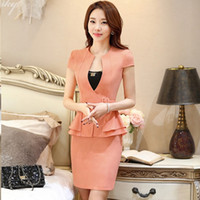 Wholesale Women Working Skirt Suits - Women Rose red Yellow Black White Orange Short Sleeve Suit + Black Skirt for Office Ladies Work Wear Women OL Formal clothing DK812F