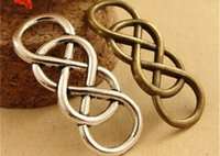 Wholesale Connector Infinity Pendants - A3684 12*32MM Antique Bronze A double bracelet connector charm links 8 word linker manual, DIY material silver infinity charms pendant