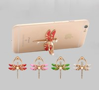 Wholesale Wholesale Diamond Ring Mounts - Dragonfly Diamond Cell Phone Holders 360 Degree Rotate Finger Ring Phone Stand Universal Multifunctional Folding Mobile Phone Mount
